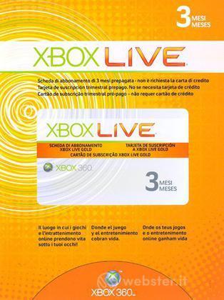 MICROSOFT X360 - Live Gold Card 3mesi