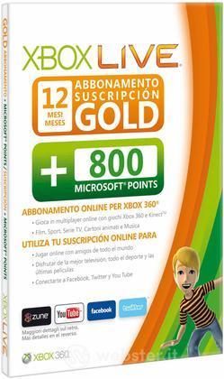 MICROSOFT X360 Live 12M Gold Card+800Pts
