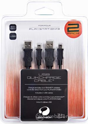 JOYTECH PS3 - Cavo di Ricarica Rapido x2