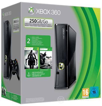 XBOX 360 250GB + Batman AC+Darksiders II