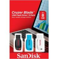 Kit 3 chiavette USB colorate Cruzer Blade 8 GB