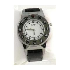 Watch Phone Silver Leather Black