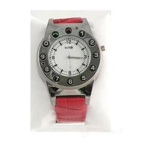 Watch Phone Silver Leather Red