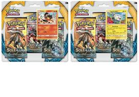 Pokemon Sole Luna 3 buste blister+moneta