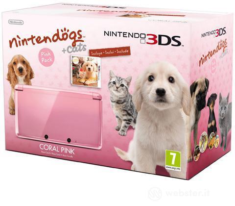 Nintendo 3DS Rosa Corallo+Nintendogs&Cat
