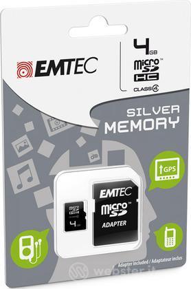 MicroSD + Adapter 4GB Silver (MP3-MP4)