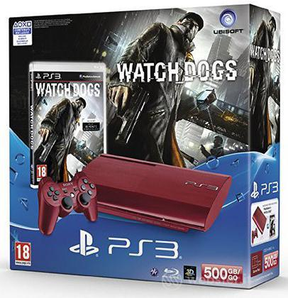 Playstation 3 500GB Red + Watchdogs