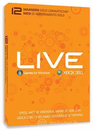 MICROSOFT X360 Live Gold Card 12 Mesi