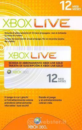 MICROSOFT X360 Live Gold Card 12mesi