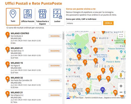 Mappa punti di ritiro